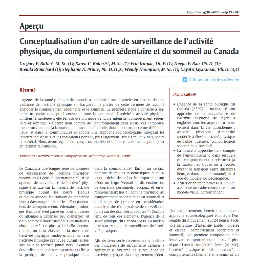 Aperçu – Conceptualisation d'un cadre de surveillance de l'activité physique, du comportement sédentaire et du sommeil au Canada