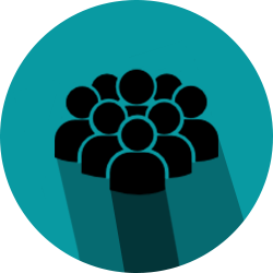 Icon showing a group of people representing clients