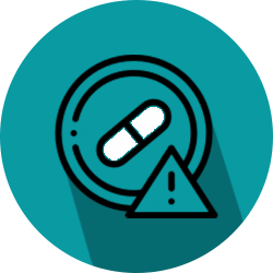 Icon of a pill warning representing an overdose