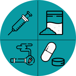 Icon showing different forms of drugs (needle, powder, pipe and pills)